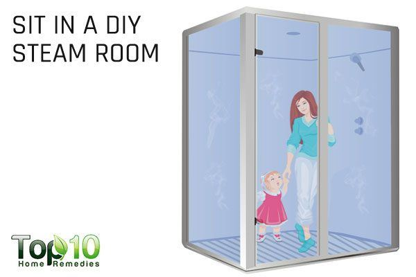 sit in a DIY steam room to treat breathing problem in babies