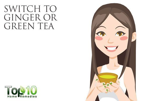 switch to green tea or ginger tea for gut health