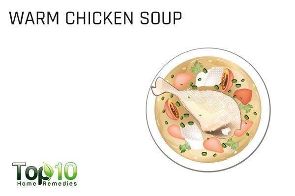 warm chicken soup to treat respiratory infection