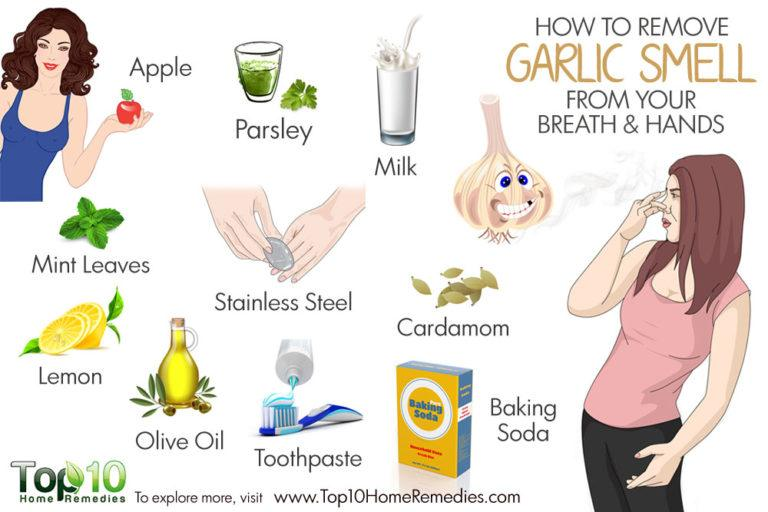 how o remove garlic smell from breath and hands