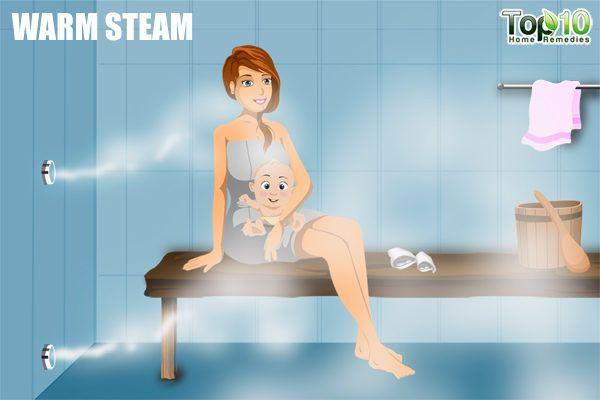 warm steam to treat cropu in children
