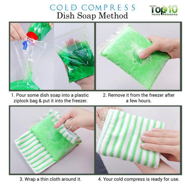 dish soap cold compress