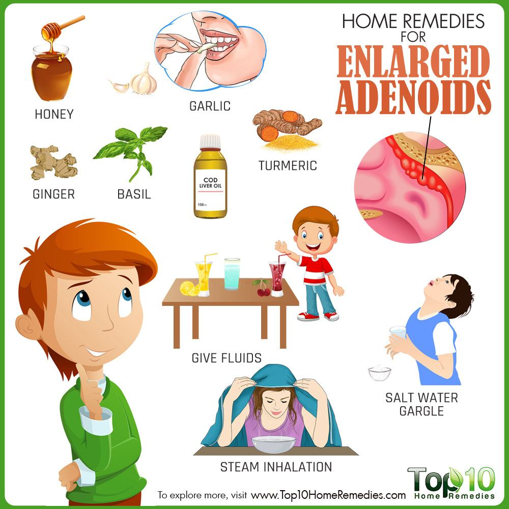 home remedies to shrink enlarged adenoids Adenoids shrink naturally once a child is five years old and tend to disappear altogether by the time your child is a teen  this could lead to swollen adenoids as it battles the infection the doctor may feel you child's neck along the jaw line for swelling, while also taking a look at the ear, nose and throat for infection if they.