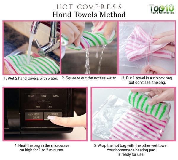 warm hand towel hot compress
