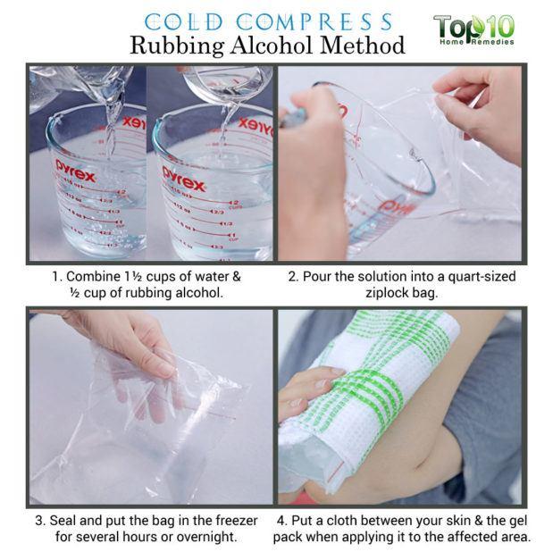 rubbing alcohol cold compress