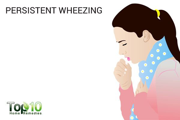 persistent wheezing due to lung trouble
