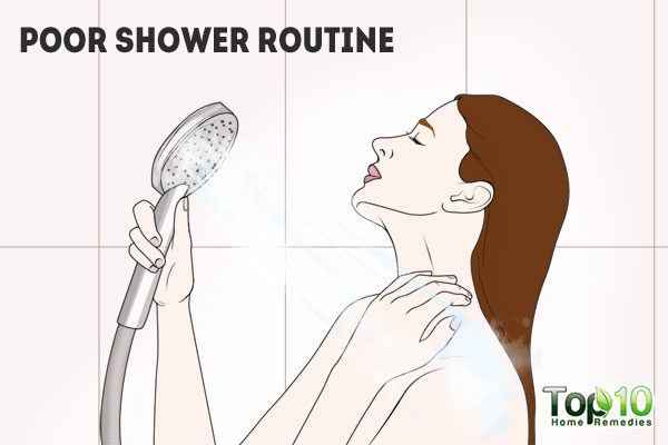 poor shower routine causes clogged pores on skin