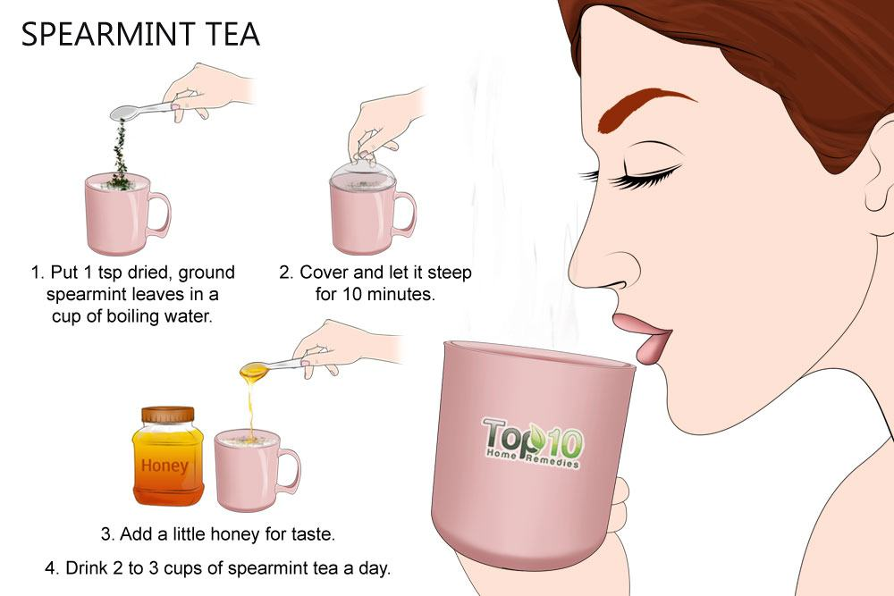 Spearmint tea for facial hair