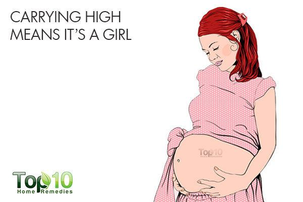 carrying high means its a girl