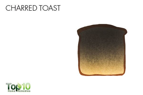 charred toast to soothe sour stomach