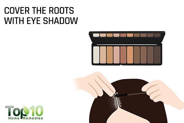cover gray hair with eye shadow