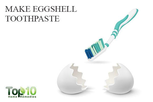 make eggshell toothpaste to treat white spots on teeth