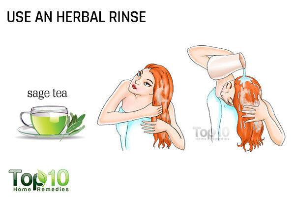 use an herbal hair rinse to cover the grays