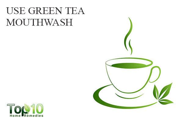 use green tea mouthwash to treat white spots on teeth