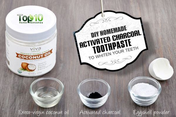DIY homemade activated charcoal toothpaste to whiten your teeth