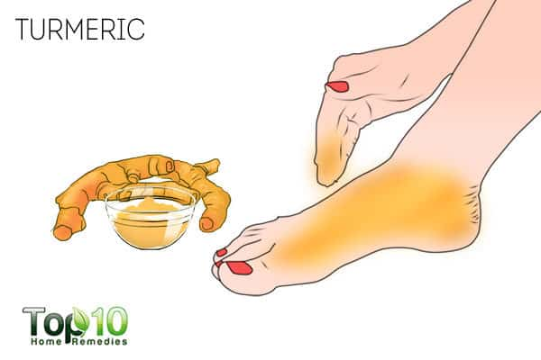 Apply turmeric to treat a sore big toe