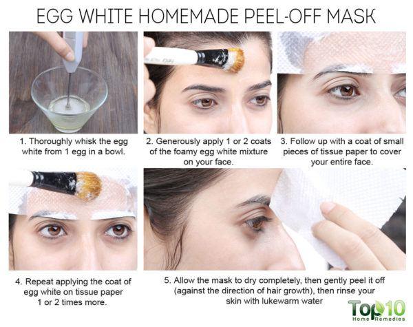 homemade egg white peel-off mask