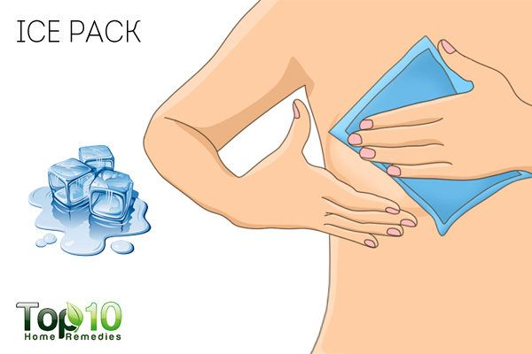ice pack to treat tender breasts