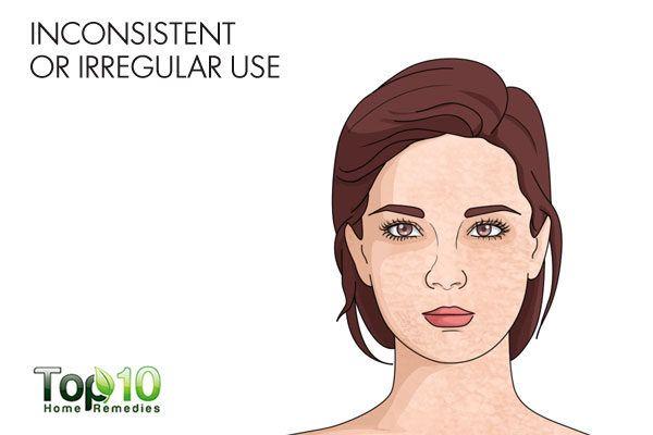 dont apply moisturizer inconsistently