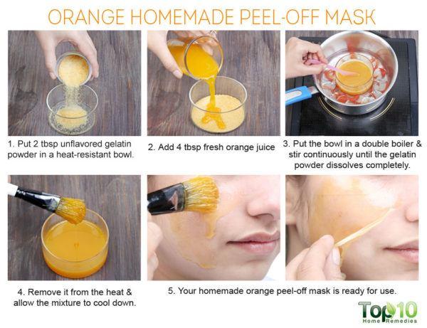 homemade orange peel-off mask