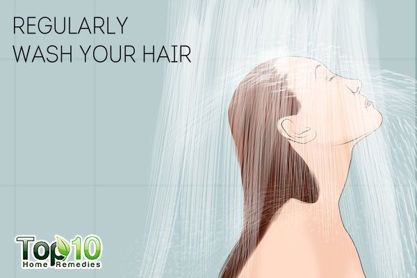 regularly wash your hair to prevent dandruff