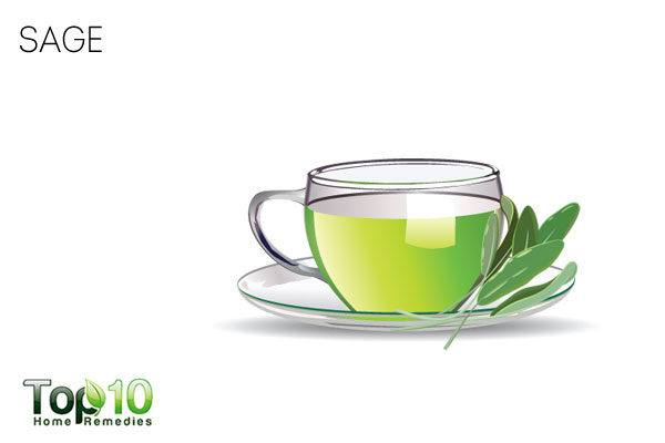 Sage tea to treat sweaty hands