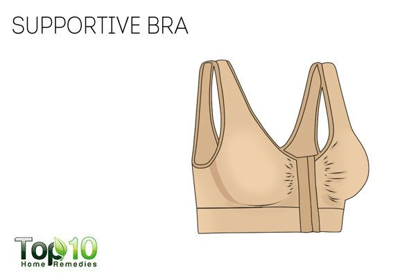 wear supportive bra to avoid tender breasts