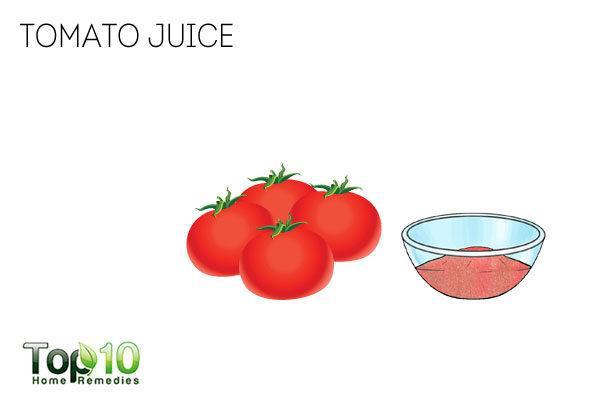 Tomato juice for sweaty hands