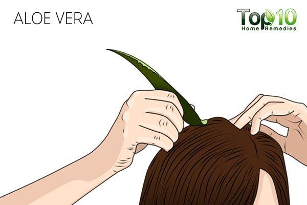 Apply aloe vera gel to treat your dry scalp