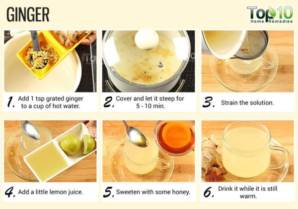 Brew and drink ginger tea for heartburn