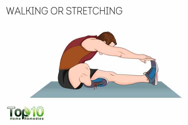 Walking or stretching can provide relief form leg cramps
