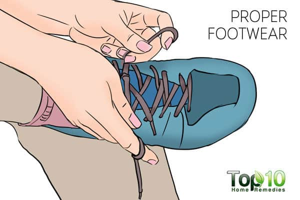 Wear proper footwear to treat and prevent a sore big toe