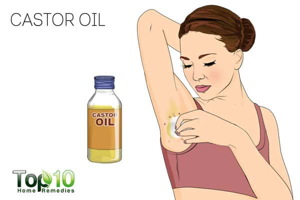 Use castor oil to get rid of skin tags on armpits
