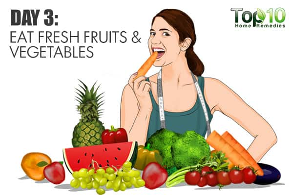 eat fresh fruits and vegetables on day 3 of the gm diet