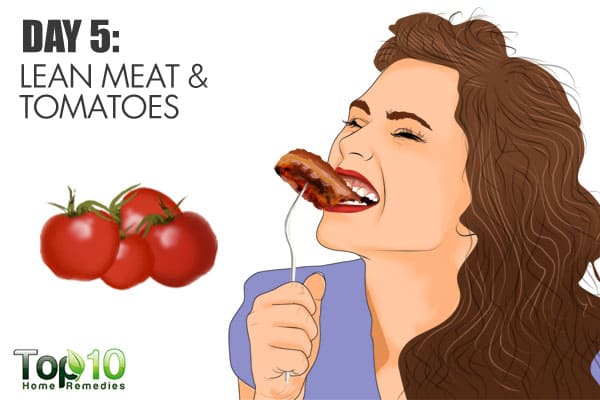have lean meat and tomatoes on day 5 of the gm diet