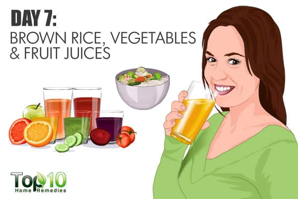 have brown rice, vegetables, and fruit juices on day 7 of the gm diet