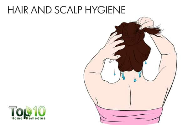 Hair and scalp hygiene for bumps on forehead