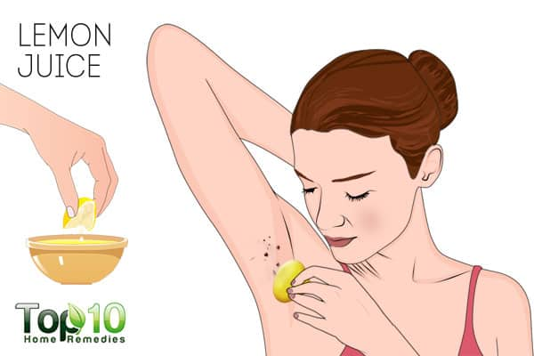 Use lemon juice to get rid of skin tags on armpits