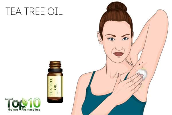 Use tea tree oil to get rid of skin tags on armpits
