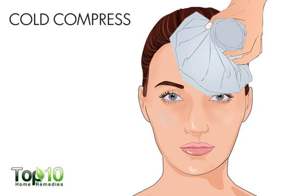 Use cold compress for bumps on forehead
