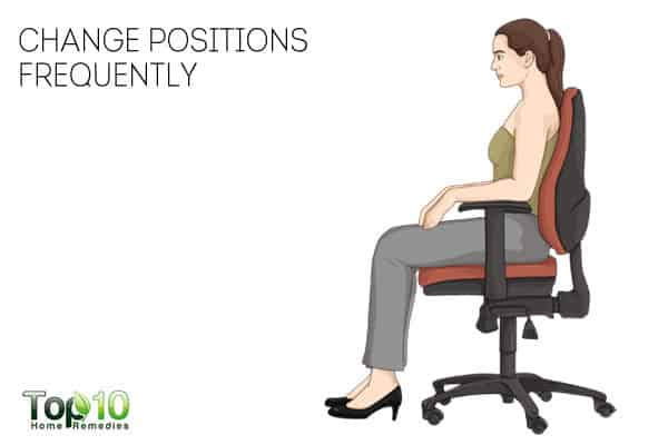 change positions frequently to prevent or reduce work-related shoulder pain