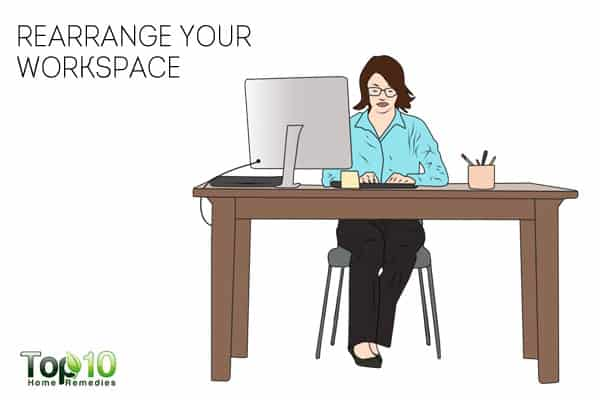 rearrange your workspace to prevent or reduce work-related shoulder pain