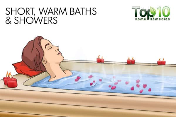 short, warm baths and showers to get rid of bumps on arms