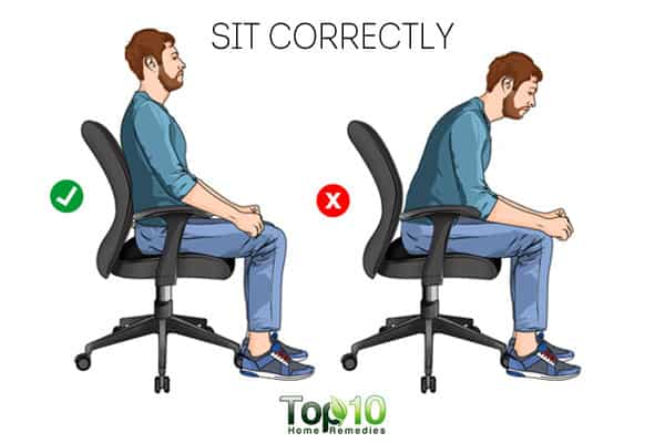 sit correctly to prevent or reduce work-related shoulder pain