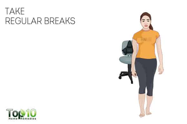 take regular breaks to prevent or reduce work-related shoulder pain