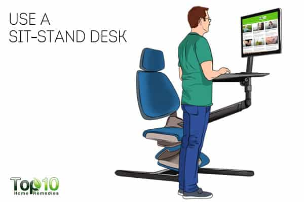 use a sit-stand desk to prevent or reduce work-related shoulder pain