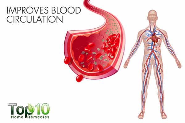 warm water improves blood circulation