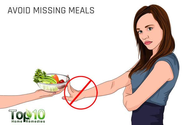 avoid missing meals to prevent migraines