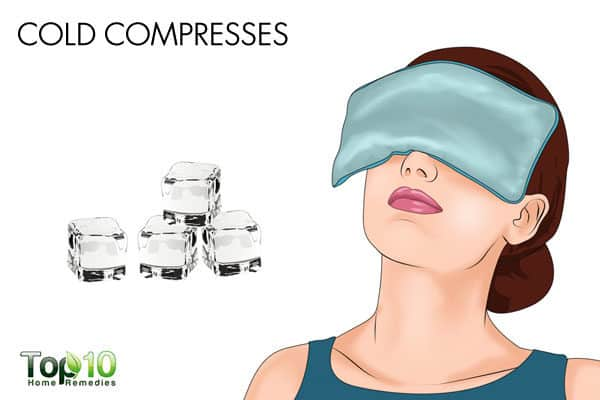cold compress to ease allergic conjunctivitis