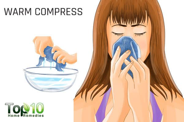 warm compress to ease pregnancy rhinitis